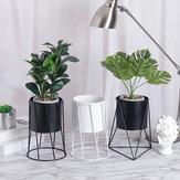ガーデニングホワイトブラックメタルラックセラミック多肉植物ポットデスクトップ花瓶フラワープランター装飾