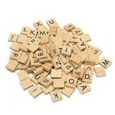 100Pcs Wooden Alphabet  Kids Early Education Toys Gift Scrabble Tiles Black Letters For Craft Wood