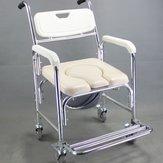Aluminum Alloy Mobile Shower Bathroom Toilet Commode Chair Waterproof Rustproof Wheelchair