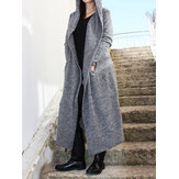 Plus Size Women Winter Warm Hooded Casual Long Coats