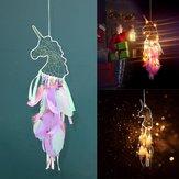 Unicornio Ciondolo Piuma Dream Catcher Artigianato indiano Appeso a parete Grandi campanelli eolici Dream Catcher Decorazioni