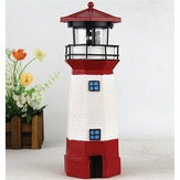Solar LED Lighthouse Waterproof IP67 Automatical Rotating Light Beam Decoration Tower Lamp