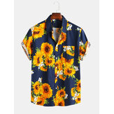 Heren zonnebloem bedrukte losse causale shirts