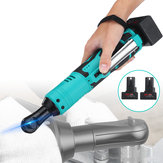 28V 85N.m Cordless Electric Ratchet Wrench 3/8 Inch Right Angle Wrench Tool W/ 2 Battery