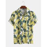 メンズ夏カジュアルルーズトップバナナプリントシャツ
