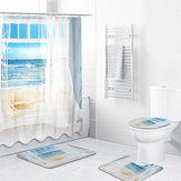 4шт Ванная комната окна занавески для душа комплект Пляжный печать патентов печатает полиэстер