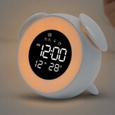 LD908 LED Wake Light Clock Ambient Light Jam Alarm Rechargable dengan Mode Sunset Digital 12/24 Jam Tampilan