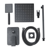 8''Black Wall Mounted Rainfall Shower Head Faucet Tub Spout Mixer Tap Shower Combo Set