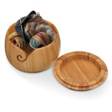 Wooden Bamboo Yarn Bowl Holder & Cover For Skeins Knitting Crochet Home Decorations