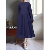 Women Casual Loose Round Collar  Pure Color Pockets Dress