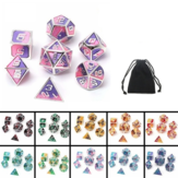 7pcs couleur mixte dés polyédriques de dés de jeu de dés de jeu de dés en métal RPG avec le sac de velours de donjons et le dragon noir jeux de table enseignement de math de alliage de zinc