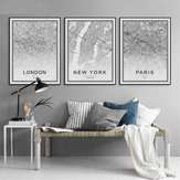 Mapa de la ciudad mundial Cartel abstracto Arte nórdico Impresiones Pinturas Decoración de la pared