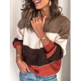 Loose Long Sleeve Stripe Casual Sweaters