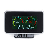 12V-24V 2 In1 LCD Car Digital Gauge Voltage Pressure/Water Temp Meter With Buzzer Alarm