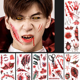 Halloween Props Tattoo Stickers Horror Simulation Wound Realistic Blood Scars Scratches Stitch Pattern