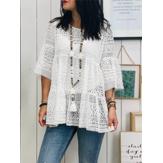 S-5XL feminino manga 3/4 crochê de renda oca em volta do pescoço blusa