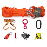 XINDA 8 In 1 Outdoor Survival Kits 10m Climbing Rope Safety Belt Carabiner Speed-drop Ring Window Breaker Non-slip Gloves Whistle Hiking Fire Escape Tools