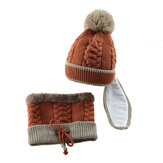 Kinderpark Meisjes Jongens Gebreide Muts Sjaal Masker Set Warm Winter Fleece Winter Ski Hat Pompom