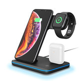 Bakeey 3in1 Breathing Light 15W Qi Chargeur sans fil à charge rapide Dock pour IPhone 11 Montre Xiaomi 9T Mi9 Pro HUAWEI P30Pro Samsung S10 +