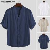 Men's Vintage Causal T Shirt Linen Collarless Short Sleeve Beach Top Tee Blouses