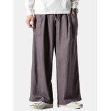 Mens Chinese Style Linen Casual Straight Leg Baggy Wide Leg