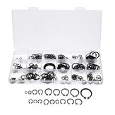 225Pcs C-Clip Snap C-type Circlip Kit Assortiment de bague de retenue externe Set Noir