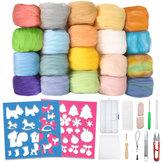 Needle Felting Starter Kit 24 Colours Natural Needle Felting Wool Set and Wool Felt Tools for DIY Felting Craft Project