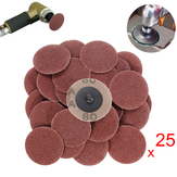 25pcs 2 Polegada 80 Grit Roll Lock Sanding Discs with Holder R-Type Abrasive Tool