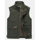 Mens grande tamanho Casual Outdoor Cotton Multi Pocket Function Loose Vest