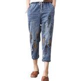 خمر التطريز مطبوعة عالية الخصر منتصف العجل جينز