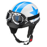 Motorcycle Protector Helmet Star Pattern Blue and White W/ Visor Goggles Vintage