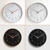 12 ''ホームオフィスルームの装飾を掛ける現代金黒く白い無声壁時計