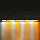 35 Inch 12V 32W 32 LED Car Traffic Advisor Emergency Hazard Warning Signal Strobe Light Bar Amber White Lamp