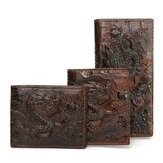 Men Genuine Leather Dragon Long Short Wallet Coin Money Card Holder Clutch Purse