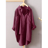 Plus Size S-5XL Solid Color Irregular Hem Loose Blouse Shirt