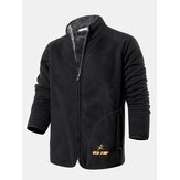 Mens Winter Stand Collar Zipper Single Breasted Jacket