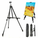Easel Stand Artist Easels for Display Aluminum Metal Tripod Field Easel with Bag for Table-Top / Floor / Flip Charts Black Art Easels W/Adjustable Height 52-160CM for Back to School