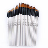 12 Pcs Nylon Hair Wooden Handle Painting Brush Pen Set For Learning Diy Oil Acrylic Painting Art Paint Brushes Supplies Pointed Head