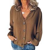 Kadın Düğmeler V Boyun Düz Günlük Gevşek Bluz