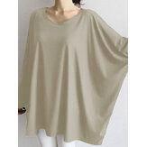 Dames Causale losse losse blouse met ronde hals