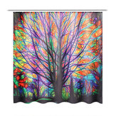 180x180cm Colorful Tree Leaves Waterproof Bathroom Shower Curtain w/ 12 Hooks