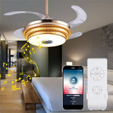 Modern Dimmable Ceiling LED Fan Lamp Bluetooth Speaker LED Chandelier Light+Remote