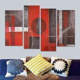 4pcs Abstract Art Red&Black Wall Oil Paintings Canvas Pictures Modern Home Decor