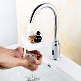 Zinc Alloy Automatic Infrared Sensor Kitchen Basin Sink Faucet Smart Touchless Sink Single Cold Tap Single Handle Deck Mount w/ Hose Controller Box