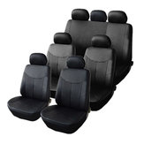 3 Rows Car Front Rear Seat Cover Protector Set PU Leather For 8 Seats SUV