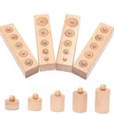 Juego de 4 piezas Juguetes educativos de madera para niños Cilindro Enchufe Bloques Juguete Rompecabezas Juguete Práctica de desarrollo del bebé
