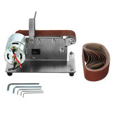 300W 1000-9000RPM Horizontal Electric Mini Belt Sander Adjustable Speed Polishing Grinding Machine Antiskid Abrasive Belts Grinder