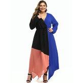 Talla grande Mujer Maxi Patchwork con cuello en V Casual Maxi Vestido