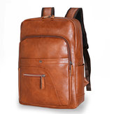 Men Faux Leather Large Capacity Baackpack