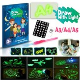 A3 A4 A5 Size 3D Children's Fluorescent Drawing Board Toy Draw with Light Fun for Kids Family